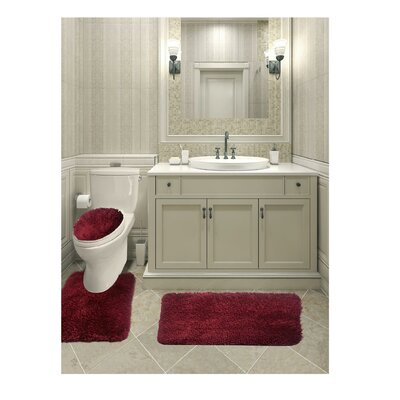 Micahel Solid Plush Microfiber Bath Rug Set Color: Burgundy