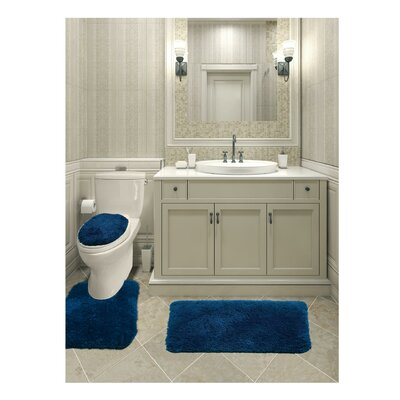 Micahel Solid Plush Microfiber Bath Rug Set Color: Navy