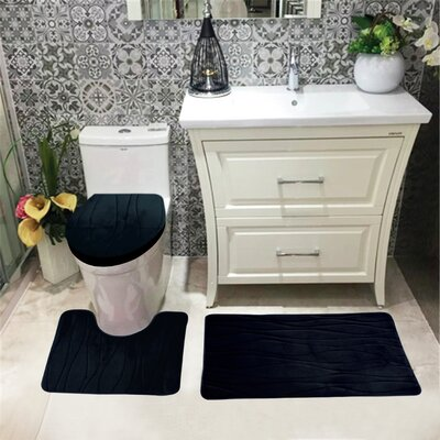 Sarratt Solid Plush Microfiber Bath Rug Set Color: Black
