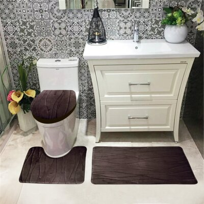 Sarratt Solid Plush Microfiber Bath Rug Set Color: Chocolate