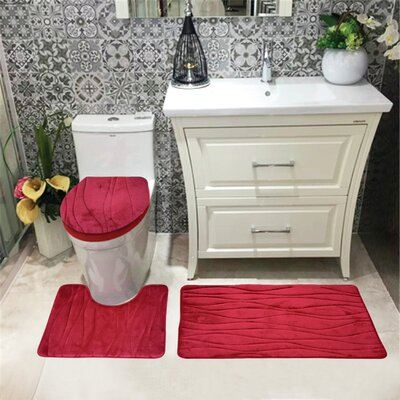 Sarratt Solid Plush Microfiber Bath Rug Set Color: Burgundy