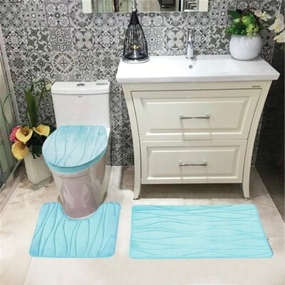 Sarratt Solid Plush Microfiber Bath Rug Set Color: Aqua