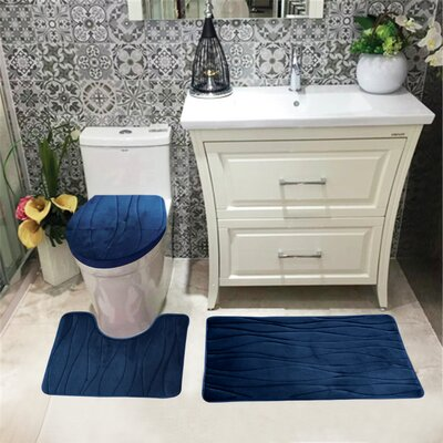 Sarratt Solid Plush Microfiber Bath Rug Set Color: Navy