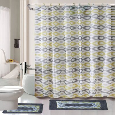 Cortlandt Keena 15 Piece Shower Curtain Set