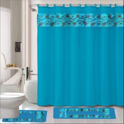 Thea 15 Piece Shower Curtain Set Color: Turquoise