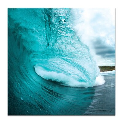 'Turquoise Wave' Photographic Print on Wrapped Canvas Size: 16