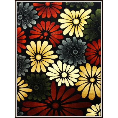 Elif/Passion Red/Black Area Rug Rug Size: 53 x 73