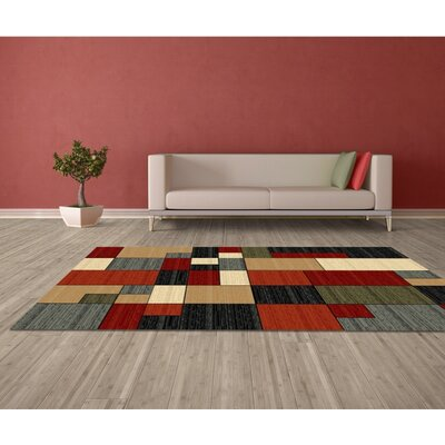 Abington Geometric Red/Gray Area Rug