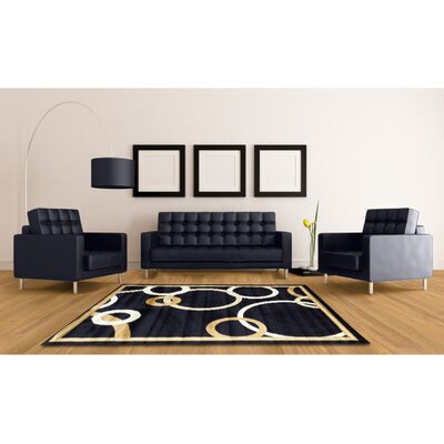 Acushnet Geometric Navy Blue Area Rug