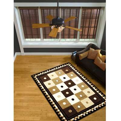 Leanne Geometric Brown Area Rug