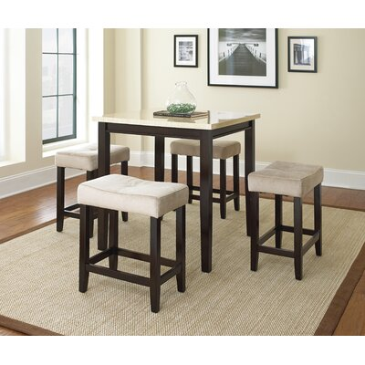 Metro Marble 5 Piece Counter Height Dining Set