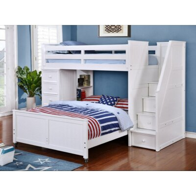 Danelle Twin Over Full L-Shaped Bunk Bed Bed Frame Color: White
