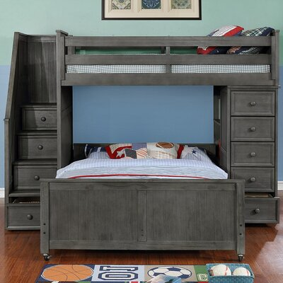 Danelle Twin Over Full L-Shaped Bunk Bed Bed Frame Color: Weathered Gray