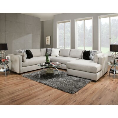Twitchell Extra Plush Sectional Upholstery: Silver