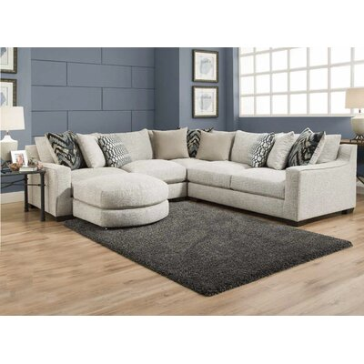 Harristown Reversible Sectional with Ottoman Upholstery: Stone