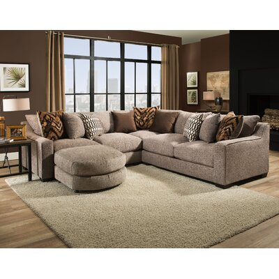 Harristown Reversible Sectional with Ottoman Upholstery: Brown