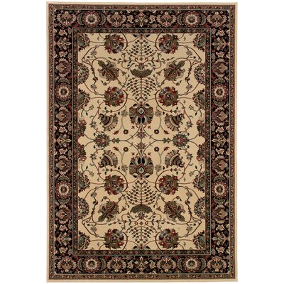 Shelburne Floral Ivory/Black Area Rug Rug Size: Rectangle 5'3