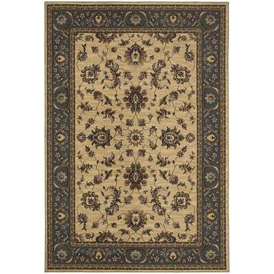Shelburne Traditional Ivory/Blue Area Rug Rug Size: Round 8