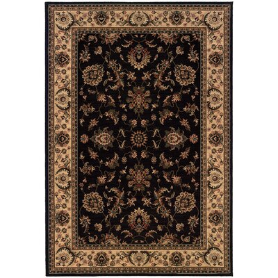 Shelburne Persian Hand Woven Beige/Black Area Rug Rug Size: Rectangle 53 x 79
