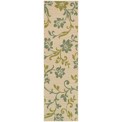 Newfield Ivory/Green Indoor/Outdoor Area Rug Rug Size: Runner 23 x 76