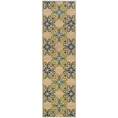 Newfield Ivory/Blue Indoor/Outdoor Area Rug Rug Size: Runner 23 x 76