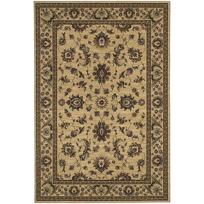 Shelburne Traditional Ivory/Green Area Rug Rug Size: Round 6