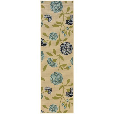 Philomene Ivory/Green Indoor/Outdoor Area Rug Rug Size: Runner 23 x 76