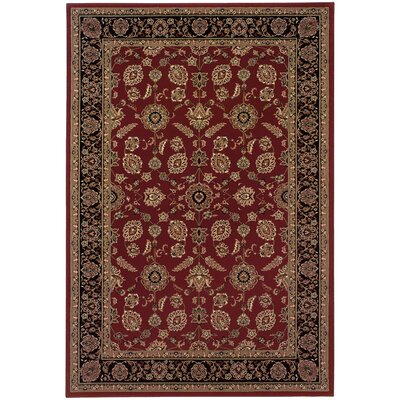Shelburne Traditional Red/Black Area Rug Rug Size: Rectangle 53 x 79