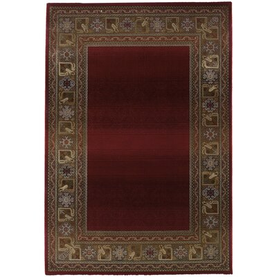 Ferrer Ruby/Gold Area Rug Rug Size: Square 8