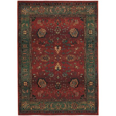 Rosabel Floral Red/Green Area Rug Rug Size: Rectangle 53 x 76