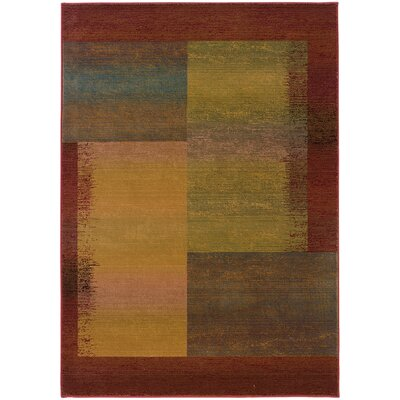 Albro Green/Red Area Rug Rug Size: Rectangle 53 x 76