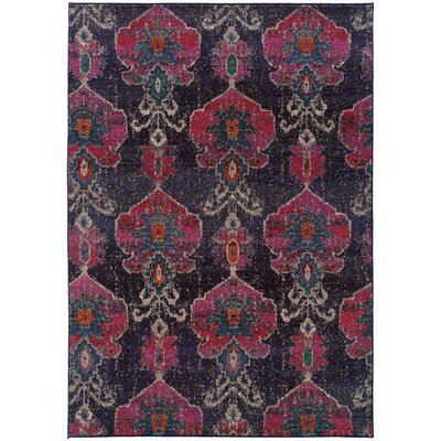 Terrell Floral Ikat Gray/Pink Area Rug Rug Size: Rectangle 99 x 122