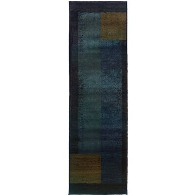 Hinson Blue/Gold Area Rug Rug Size: Runner 26 x 91