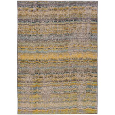 Alcaraz Distressed Stripe Yellow/Gray Area Rug Rug Size: Rectangle 53 x 76