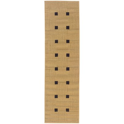 Woodard Beige/Black Indoor/Outdoor Area Rug Rug Size: Rectangle 25 x 45