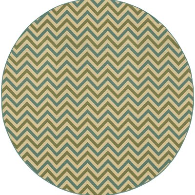 Heath Green/Blue Indoor/Outdoor Area Rug Rug Size: Round 710