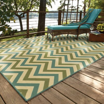 Heath Green/Blue Indoor/Outdoor Area Rug Rug Size: 53 x 76