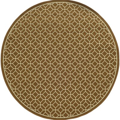 Liza Brown/Ivory Indoor/Outdoor Area Rug Rug Size: Round 710
