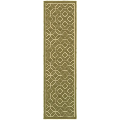 Liza Green/Ivory Indoor/Outdoor Area Rug Rug Size: Runner 2'3
