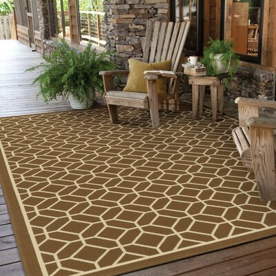Liza Brown/Ivory Indoor/Outdoor Area Rug Rug Size: 19 x 39