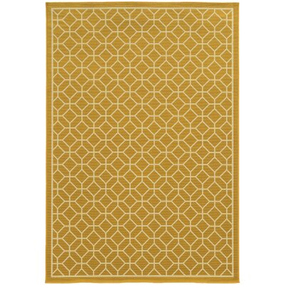 Liza Geometric Gold/Ivory Indoor/Outdoor Area Rug Rug Size: 53 x 76