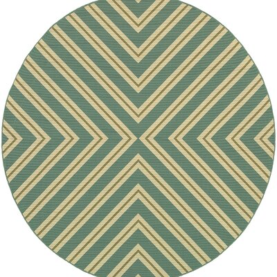 Heath Blue/Ivory Geometric Outdoor Area Rug Rug Size: Round 710
