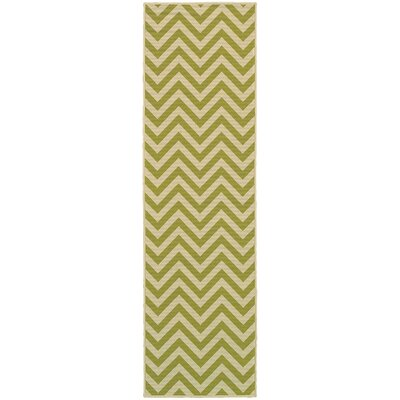 Heath Green/Ivory Chevron Indoor/Outdoor Area Rug Rug Size: Runner 23 x 76