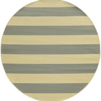 Alford Grey/Ivory Indoor/Outdoor Area Rug Rug Size: Round 710
