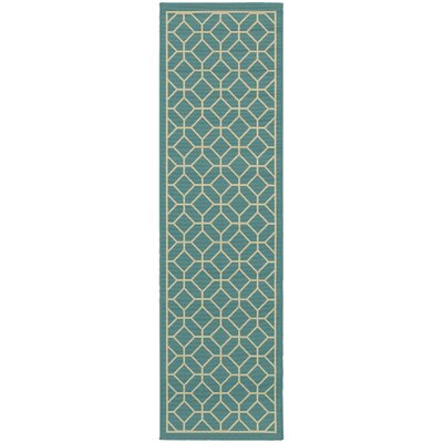 Liza Geometric Blue/Ivory Indoor/Outdoor Area Rug Rug Size: Runner 23 x 76