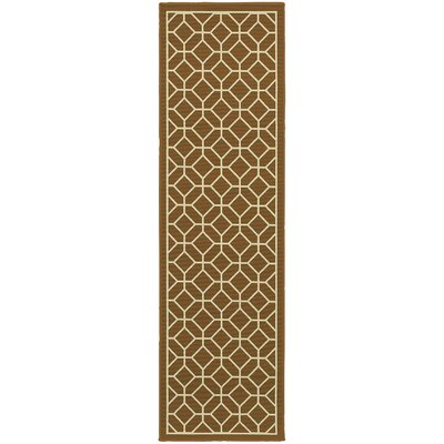 Liza Brown/Ivory Indoor/Outdoor Area Rug Rug Size: Runner 23 x 76