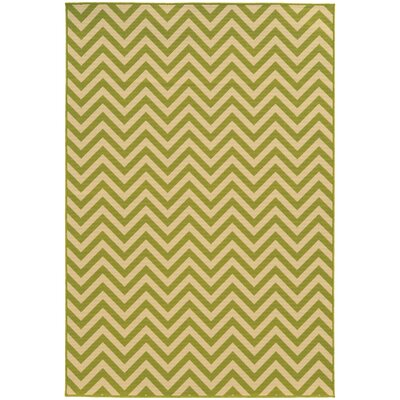 Heath Green/Ivory Chevron Indoor/Outdoor Area Rug Rug Size: Rectangle 37 x 56