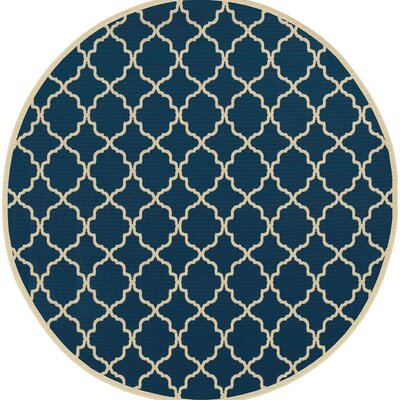 Heidy Blue/Ivory Indoor/Outdoor Area Rug Rug Size: Round 710