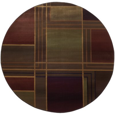 Hinson Green/Purple Area Rug Rug Size: Round 6