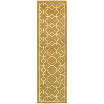 Liza Geometric Gold/Ivory Indoor/Outdoor Area Rug Rug Size: Runner 23 x 76